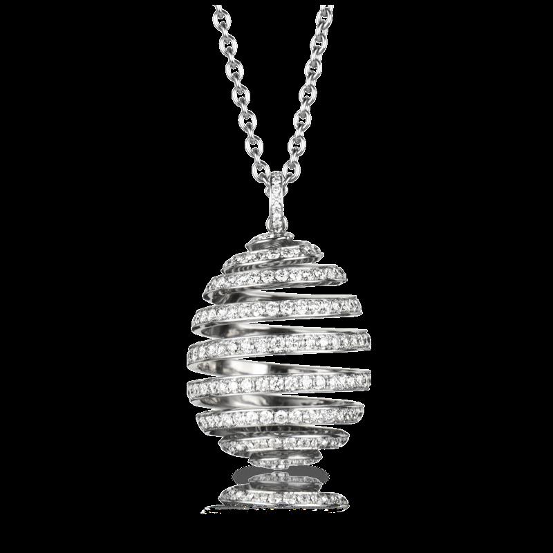 Diamond and White Gold Egg Pendant - Fabergé  Spiral White Gold Pendant