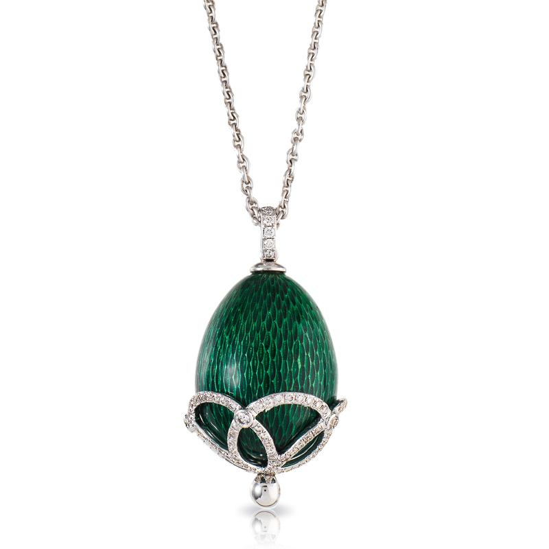 Faberge Egg Pendant - Emaux Olga Emerald Green Pendant