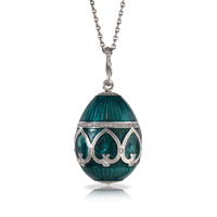 Faberge Egg Pendant - Palais Peterhof Petrol Blue Pendant