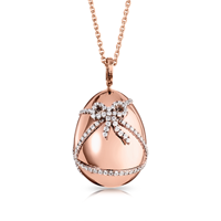 Diamond and Rose Gold Egg Pendant - Fabergé  Cadeau Diamond Rose Gold Pendant