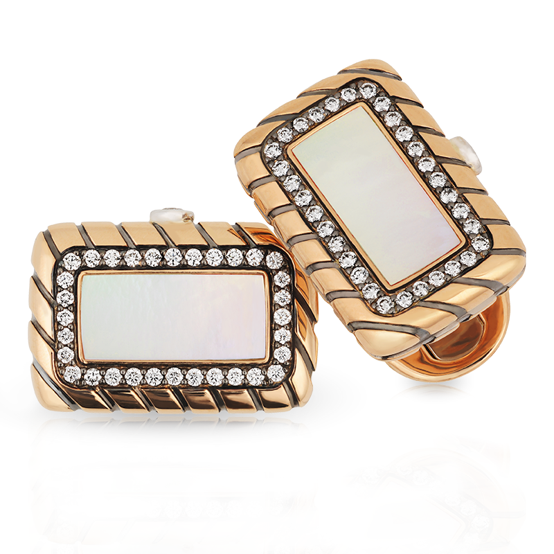 Rose Gold Pearl & Diamond Rectangular Cufflinks | Fabergé