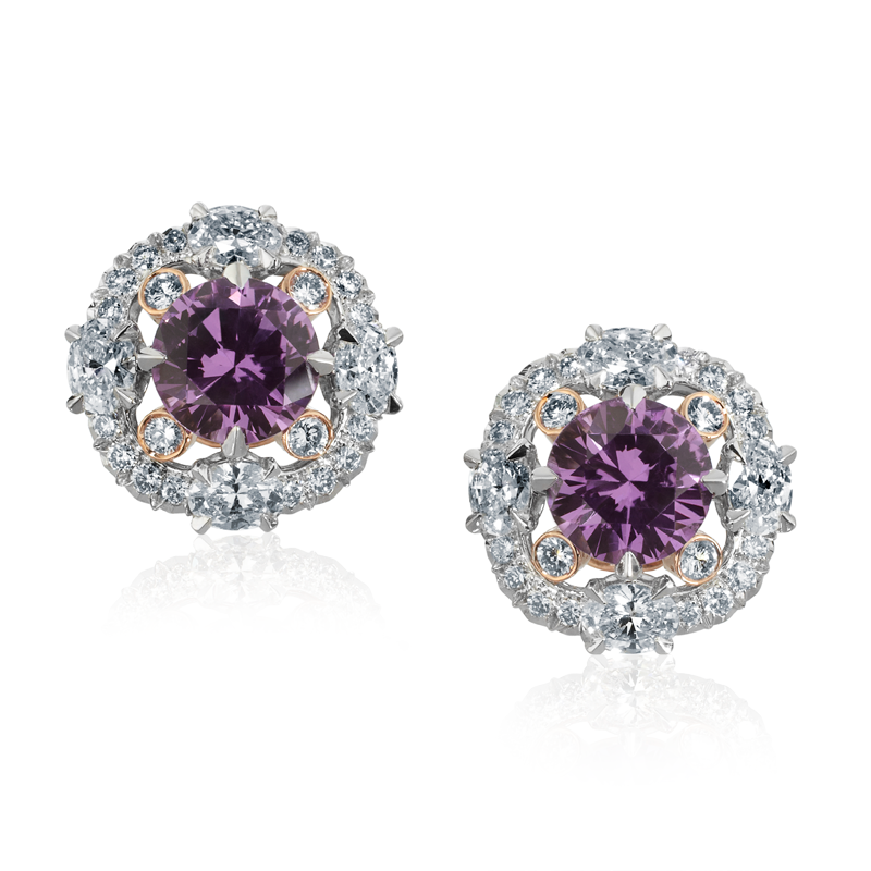 Faberge Earrings - Marie Purple Sapphire Earrings