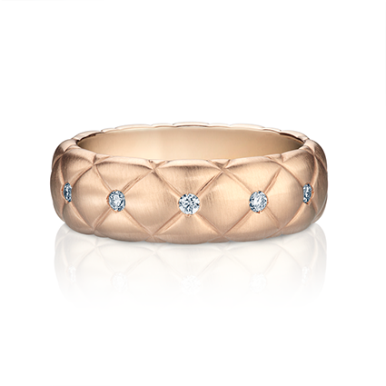 Diamond & Matt Rose Gold Thin Ring | Fabergé