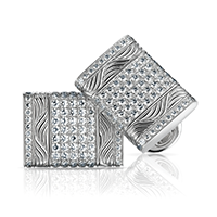 Round White Diamond & White Gold Cufflinks | Fabergé