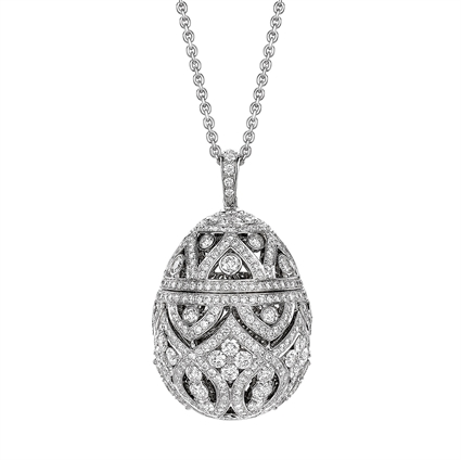 Zenya White Gold & Diamond Egg Pendant I Fabergé