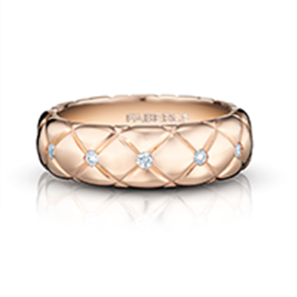 Rose Gold Diamond Ring - Treillage Diamond Rose Gold Polished Thin Ring