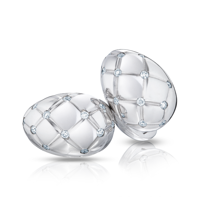 White Gold and Diamond Cufflinks - Fabergé Treillage Diamond White Gold Polished Cufflinks