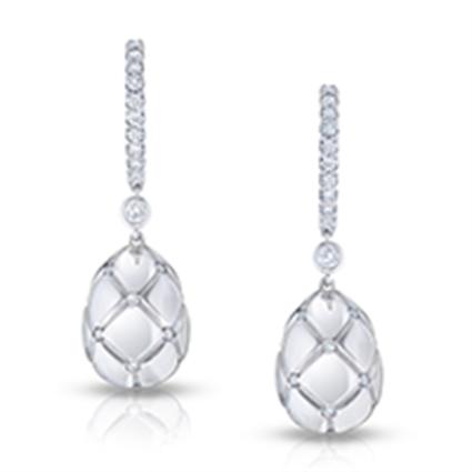 Faberge Earrings - Treillage Diamond White Gold Polished Drop Earrings
