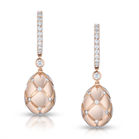 Fabergé Earrings - Treillage Diamond Rose Gold Polished Drop Earrings