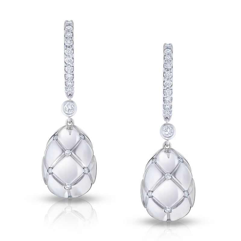 Faberge Earrings - Treillage Diamond White Gold Polished Drop Earrings