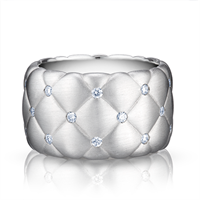 White Gold Diamond Ring - Treillage Diamond White Gold Matt Wide Ring