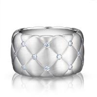 White Gold Diamond Ring - Treillage Diamond White Gold Matt Wide Ring