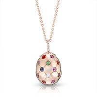 Fabergé Egg Pendant - Treillage Multi Coloured Rose Gold Polished Pendant