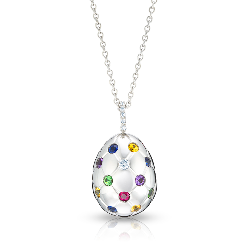Fabergé Egg Pendant - Treillage Multi Coloured White Gold Polished Pendant