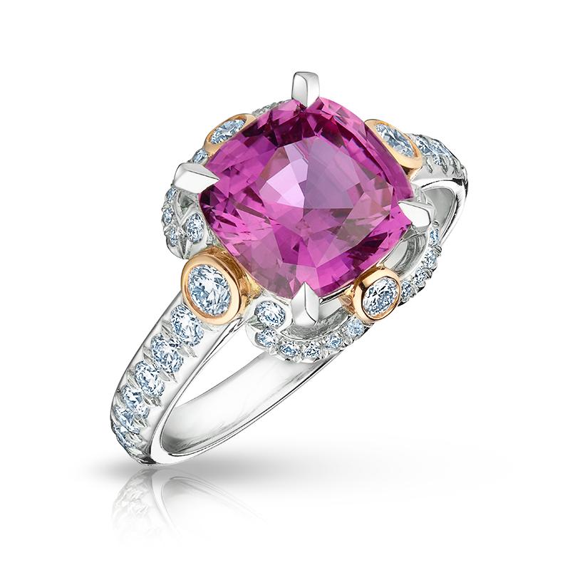 Platinum, White Diamond & Pink Sapphire Ring | Fabergé