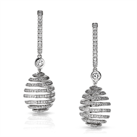 Faberge Earrings - Spiral Diamond White Gold Earrings