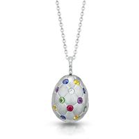Treillage Brushed White Gold, Diamond & Ruby Egg Pendant