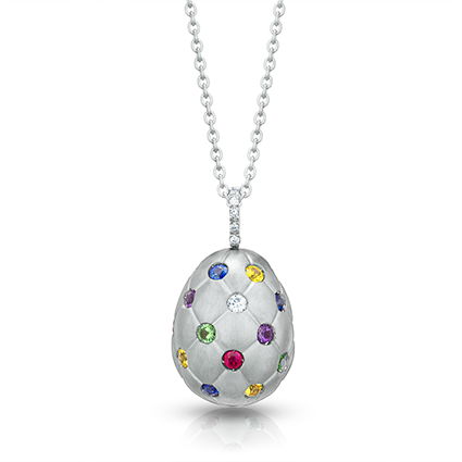 Faberge Egg Pendant - Treillage Diamond Multi Coloured White Gold Matt Pendant