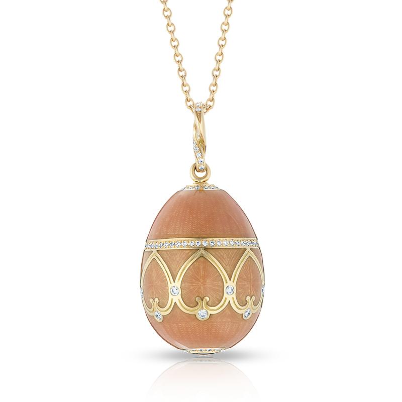 Faberge Egg Pendant - Palais Peterhof Peach Pendant