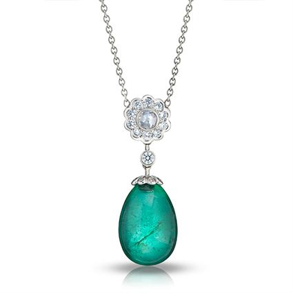 Karenina White Gold Emerald & Diamond Pendant I Fabergé