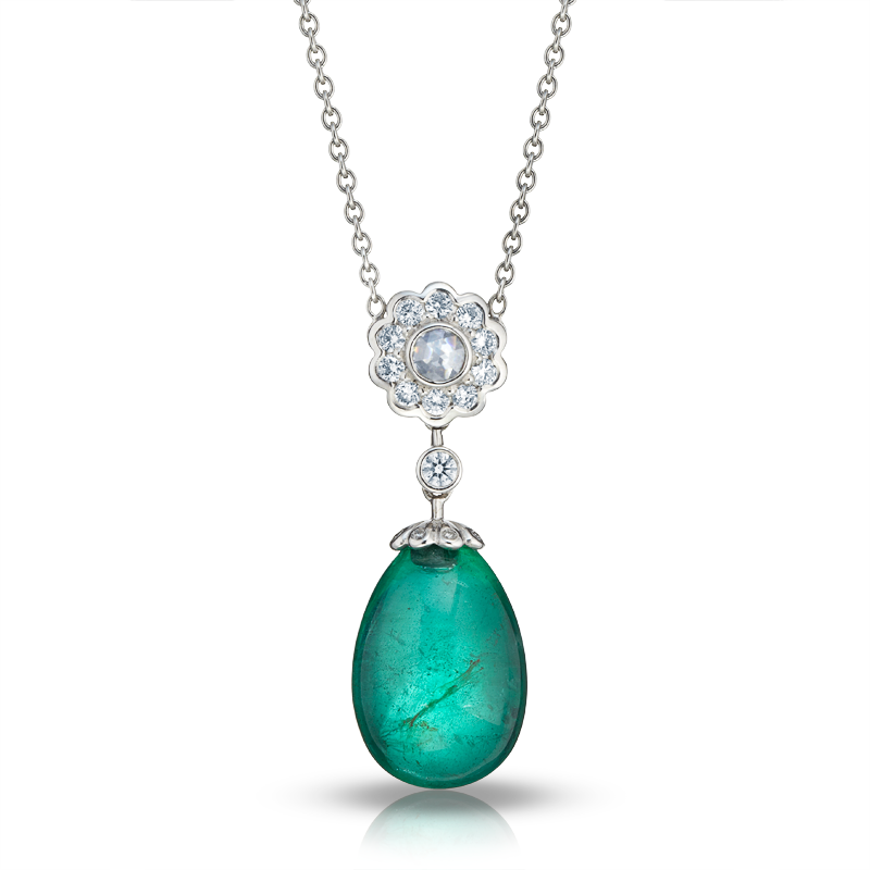 White Diamond & Natural Emerald Fabergé Egg Necklace