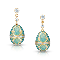 Fabergé Egg Earrings - Palais Tsarskoye Selo Diamond Turquoise Earrings