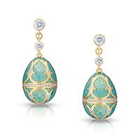 Fabergé Egg Earrings - Palais Tsarskoye Selo Diamond Turquoise Earrings