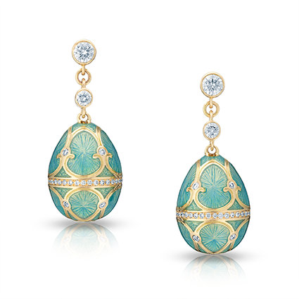 Yellow Gold Turquoise Guilloché Enamel Egg Drop Earrings | Fabergé
