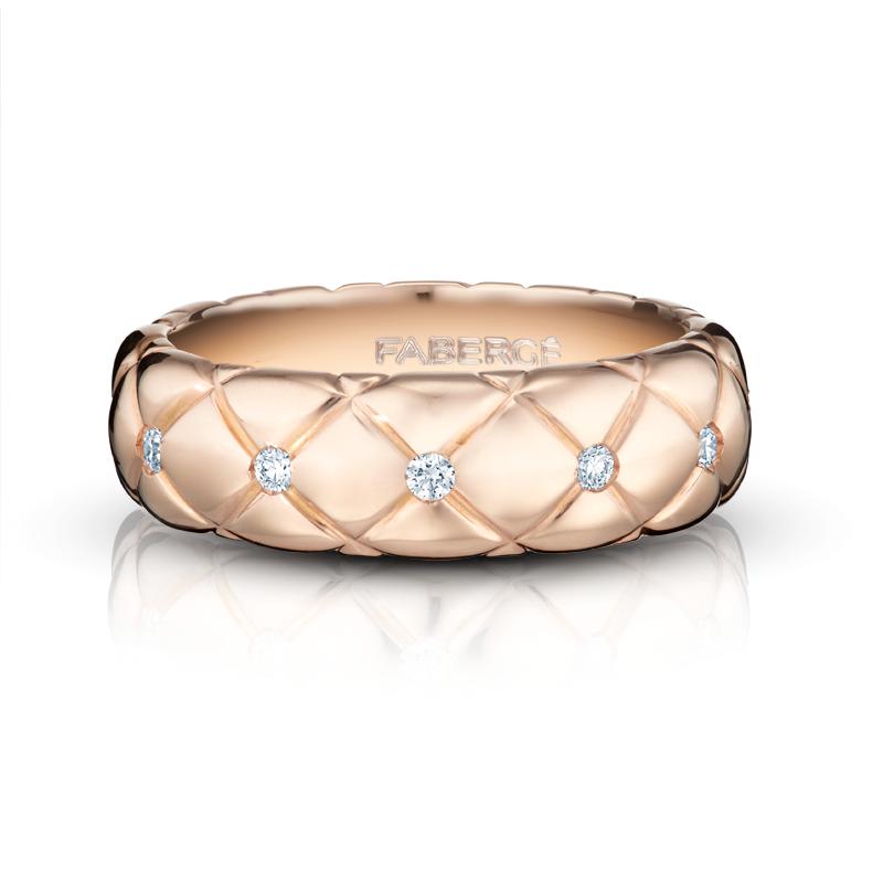 Rose Gold Diamond Ring - Treillage Diamond Rose Gold Polished Thin Ring