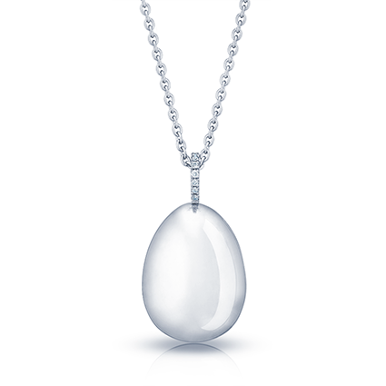 Fabergé Egg Pendant - Simple White Gold Pendant