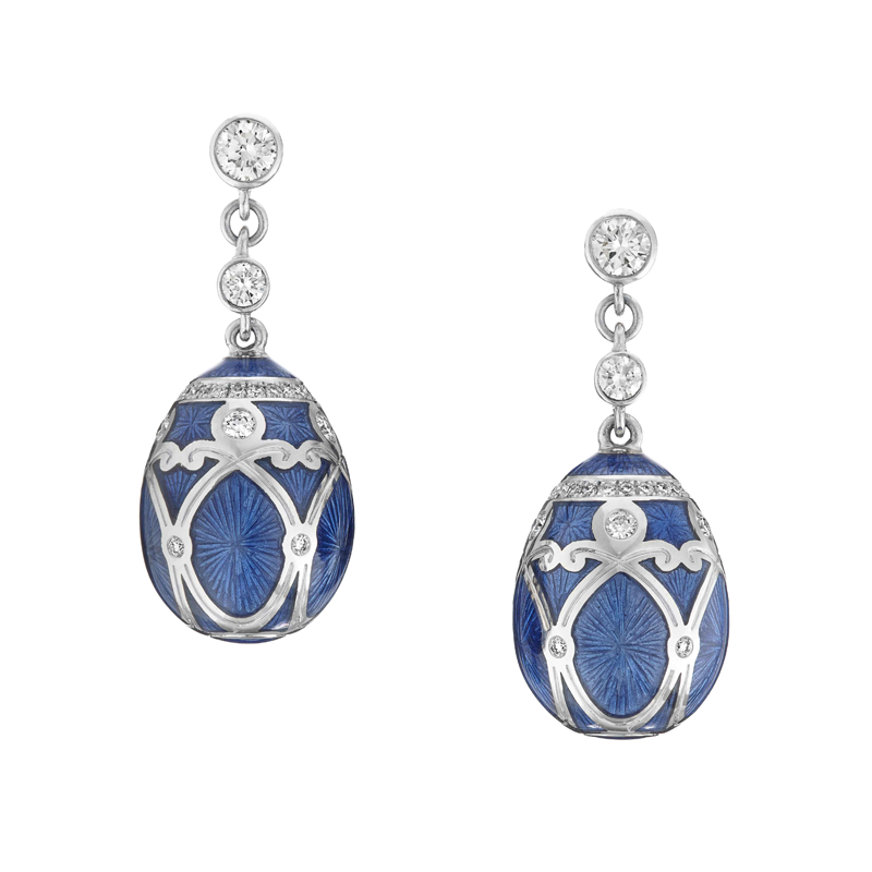White Diamond, Blue Enamel & White Gold Fabergé Egg Earrings