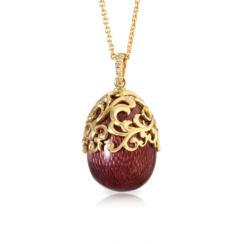 Faberge Egg Pendant - Baroque Rouge Pendant
