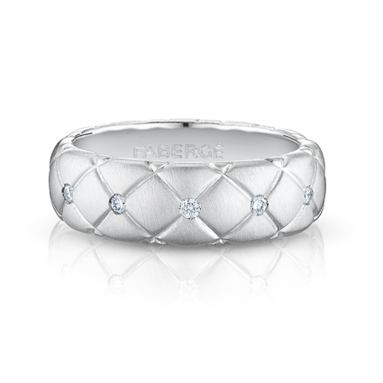 Brushed White Gold & Diamond Set Ring | Fabergé
