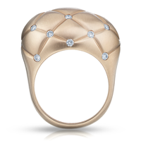Gold Diamond Ring – Fabergé Treillage Diamond Rose Gold Matt Ring
