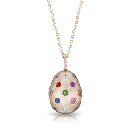 Faberge Egg Pendant -  Treillage Multi Coloured Rose Gold Matt Pendant
