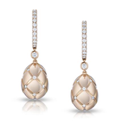 Fabergé Earrings - Treillage Diamond Rose Gold Polished Drop Earrings