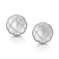 Diamond and White Gold Stud Earrings – Fabergé Treillage Diamond White Gold Matt Round Stud Earrings