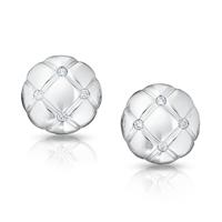 White Gold and Diamond Stud Earrings - TREILLAGE DIAMOND WHITE GOLD POLISHED ROUND STUD EARRINGS