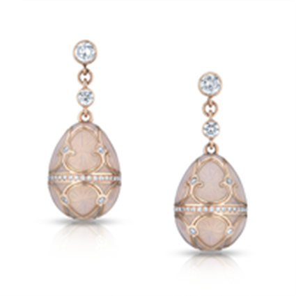 Rose Gold & White Diamond Fabergé Egg Earrings