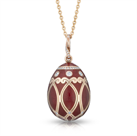 Palais Yelagin Cherry Red Enamel, Diamond & Rose Gold Egg Pendant