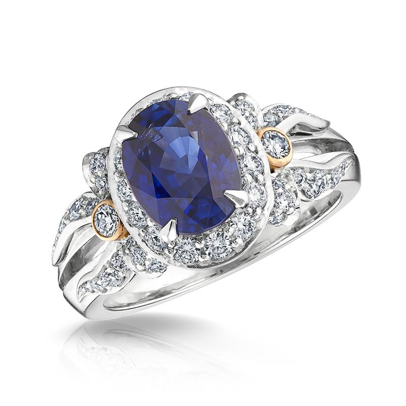 Blue Sapphire & White Diamond Halo Ring | Fabergé