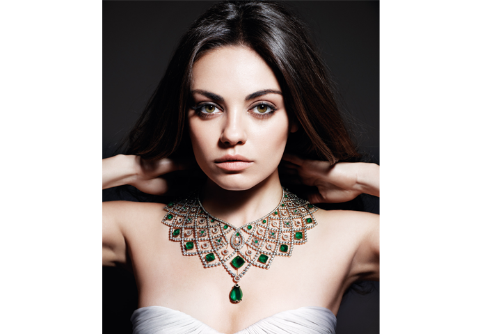 MILA KUNIS WEARS THE FABERGÉ ROMANOV NECKLACE IN GEMFIELDS CAMPAIGN