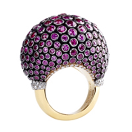 Fabergé Ruby Kalinka Ring – features 304 stones, including round rubies and round white diamonds set in 18kt yellow gold, platinum and sterling silver.
