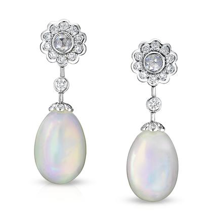 Karenina White Gold Opal & Diamond Drop Earrings I Fabergé