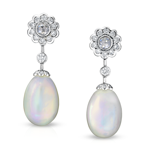 Karenina 18K White Gold Opal & Diamond Drop Earrings