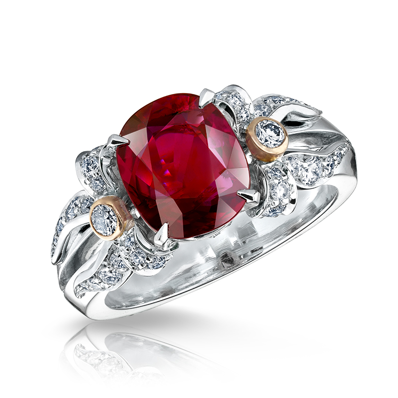 Platinum Diamond and Ruby Ring - Fabergé Alix Ruby Ring