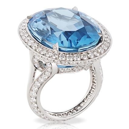 Platinum 29.72ct Oval Aquamarine Ring Set With Diamonds   Fabergé