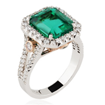 Platinum & Rose Gold Octagonal Cut Emerald Ring With Diamonds | Fabergé