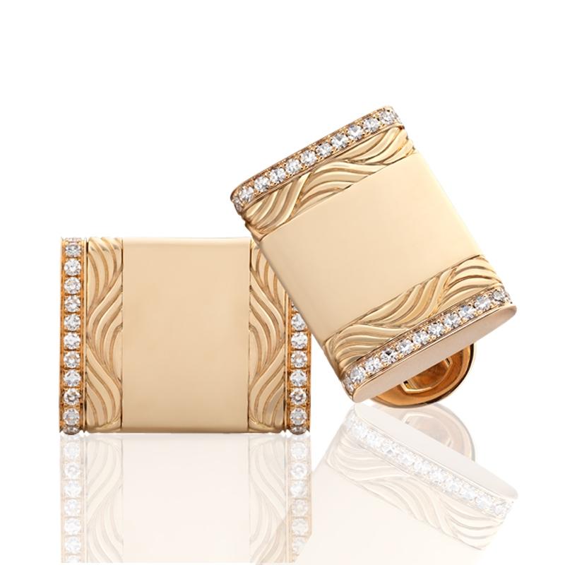Gold and Diamond Cufflinks - Fabergé  Vladimir Diamond Cufflinks