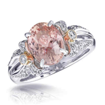 White & Rose Gold Padparadscha Sapphire Ring Set With Diamonds | Fabergé